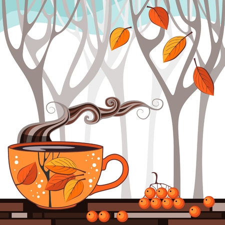aromatic: Autumn Tea Time. Vector illustration with cup of aromatic tea on background of garden trees.