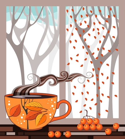 window sill: Autumn teatime. Cup of tea on the window sill on the background of autumn forest out the window. Vector illustration.