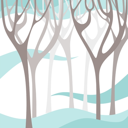 winter tree: Winter forest. Tree branches silhouettes. Vector illustration. Illustration
