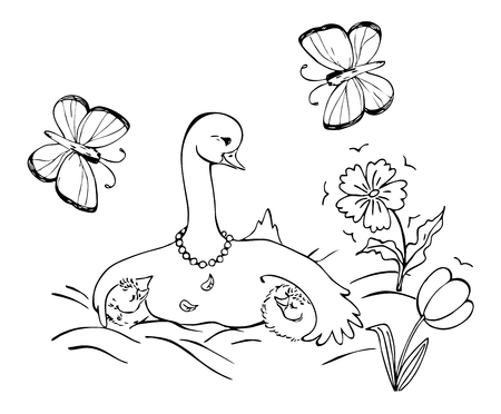 black family: Goose family with mother goose and her two little children. Black and white vector illustration. Coloring book.