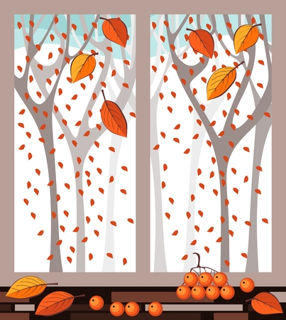 window view: View of autumn forest out the window.. Vector illustration.