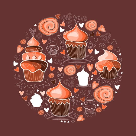 chocolate brownie: Sweet cupcakes circle figure. Vector illustration Illustration