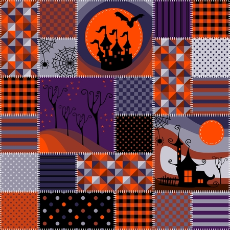 patchwork background: Bright seamless patchwork background with different patterns. Beautiful illustration for Halloween holiday. Illustration