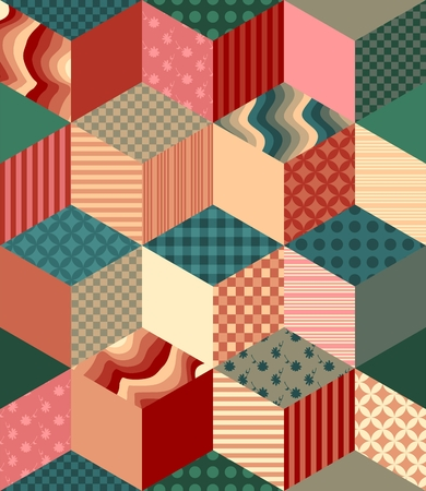 chequered drapery: Bright seamless patchwork pattern. Decorative rhombus ornament.