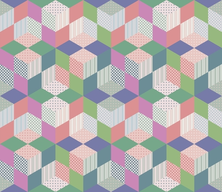 Seamless geometric patchwork pattern. Vector illustration of quilt.
