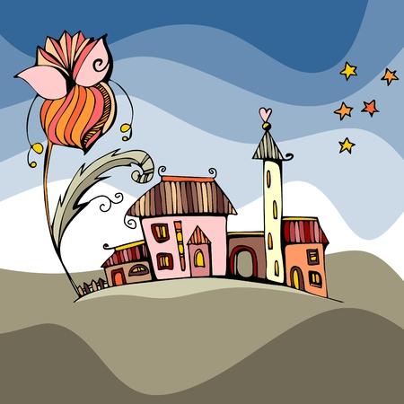 Fée ville sous la grande fleur. Fantastique illustration vectorielle.
