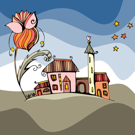 fairy cartoon: Fairy town under the big flower. Fantasy vector illustration.