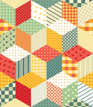 chequered drapery: Bright seamless patchwork pattern. Colorful vector illustration Illustration