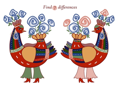 spot the difference: Find seven differences between two beautiful fairy birds. Cartoon vector illustration of education game for children. Illustration