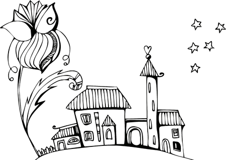 dacha: Fairy town under the big flower. Black and white illustration.
