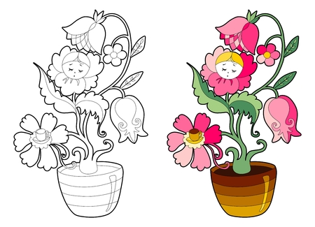 buttercup  decorative: Coloring book with fairy houseplant. Cartoon vector illustration for children education.
