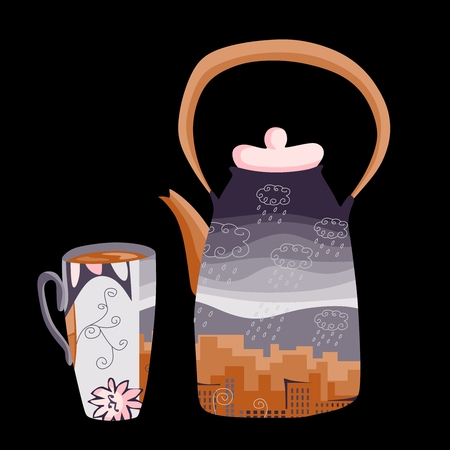 Autumn teatime. Teapot and teacup with drawing of town where it is raining. Beautiful illustration on black background.