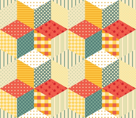 patchwork pattern: Colorful seamless patchwork pattern. Vector illustration of quilt. Illustration