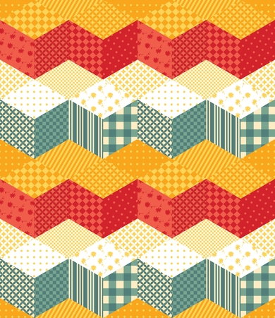 patchwork quilt: Bright seamless patchwork pattern with zigzags. Vector illustration of quilt.