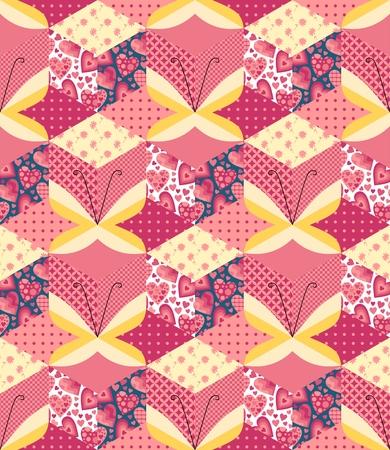 mariposas amarillas: patrón de mosaico sin fisuras con apliques de mariposas amarillas. Ejemplo lindo del vector.