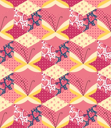 applique: Seamless patchwork pattern with applique of yellow butterflies. Cute vector illustration. Illustration