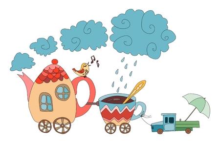 Teekanne mit Vogel und eine Tasse mit dem Auto. Cartoon Zug. Nette Fee Vektor-Illustration.
