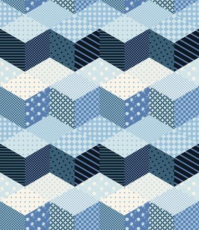 Winter zigzag naadloze patchwork patroon in blauwe tinten. Nieuwjaar achtergrond. Stock Illustratie