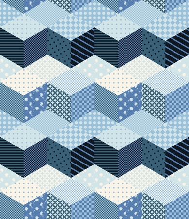 Winter zigzag seamless patchwork pattern in blue tones. New Year background.