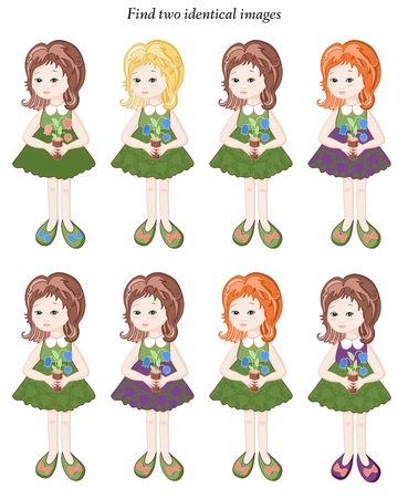 identical: Find two identical girls. Educational game for children. Illustration