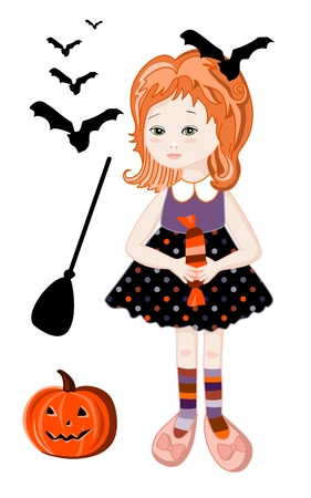 redhead girl: Cute redhead girl in halloween witch costume with pumpkin, broom and bats.