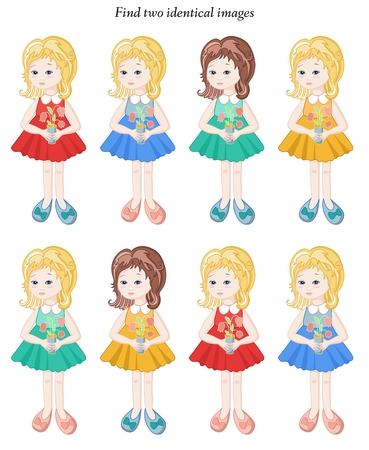 identical: Visual puzzle. Find two identical girls. Vector illustration.