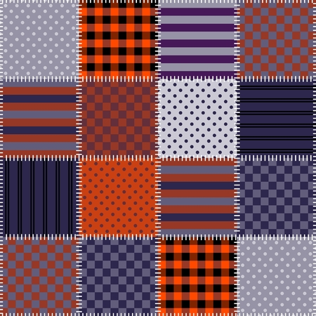 quilted fabric: Seamless patchwork pattern in Halloween colors. Quilting. Vector illustration.