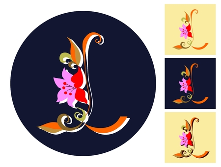 versions: Letter L with flower in four versions. Vector alphabet.