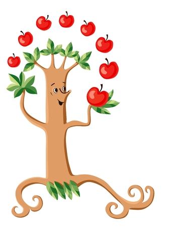 summer trees: Funny tree juggles red apples. Vector illustration. Cartoon vector illustration.