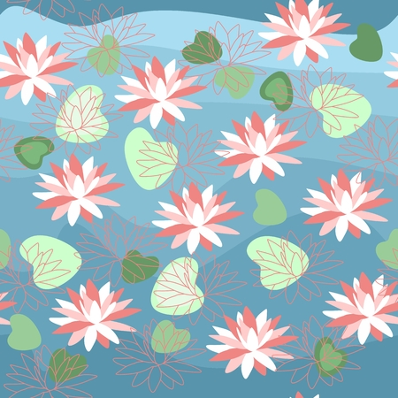water lilly: Seamless pattern with water lilies. Vector illustration with beautiful pink flowers.
