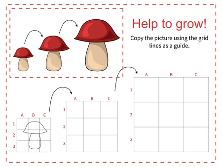 grid: Educational game for children - Help the mushroom to grow - copy the picture using the grid. Vector illustration. Illustration