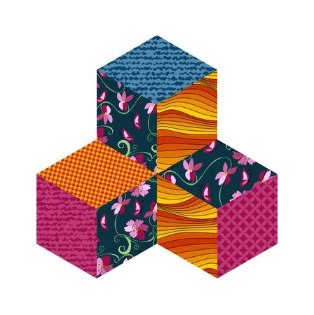 patchwork: Three patchwork cubes. Vector illustration.