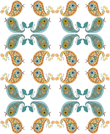 fabric art: Seamless pattern with cute patchwork birds. Vector illustration.