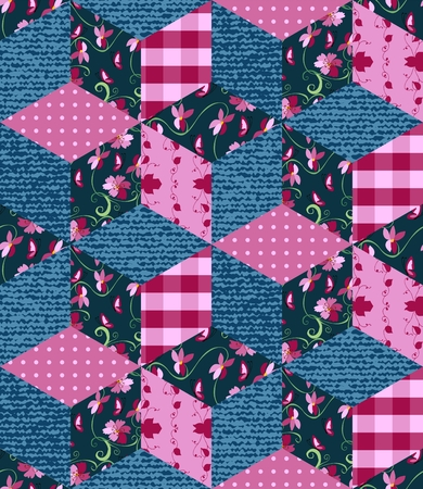 patchwork quilt: Seamless patchwork pattern in pink and blue tones. Jeans and floral patches. Vector illustration of quilt. Illustration