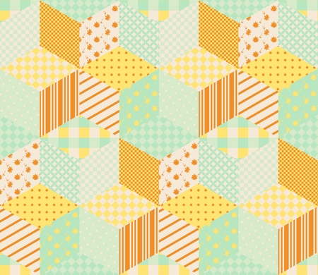 chequered drapery: Seamless patchwork pattern with patches in pastel orange and green tones. Quilt with orange and yellow stars on green background.