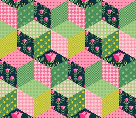 patches: Seamless patchwork pattern with green, pink and floral patches