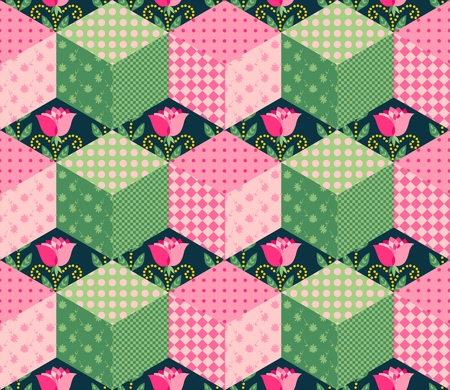 checkered volume: Seamless patchwork pattern with series of pink and green cubes on the background with roses. Vector illustration of quilt.