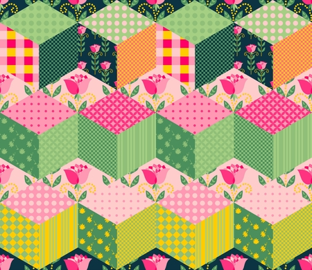 patches: Seamless patchwork pattern with series of different colorful patches.