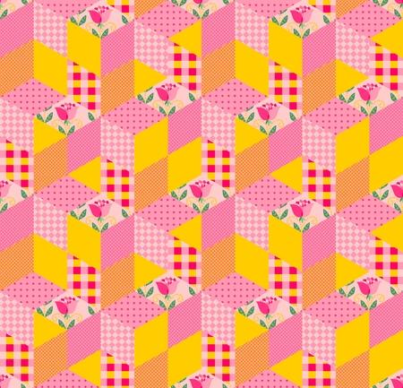 motif de patchwork sans couture. ornement lumineux dans des tons jaunes et roses. Vector illustration de la courtepointe.