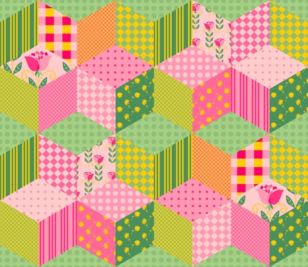 chequered drapery: Beautiful summer patchwork pattern. Seamless background in pink and green tones. Vector illustration of quilt. Can be used for wallpapers, textiles, fabrics, textures, wrapping paper.