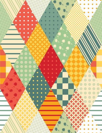 Vector illustration of colorful quilting. Seamless patchwork pattern.