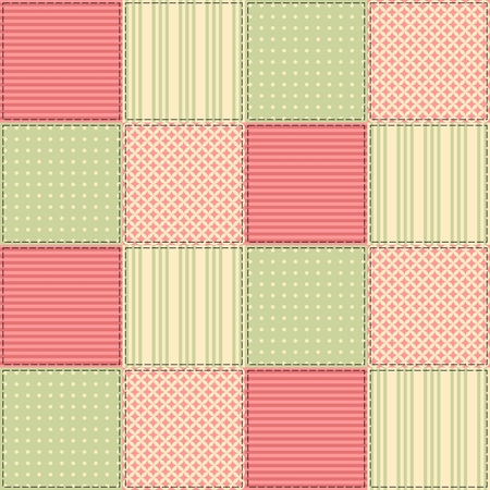quilting: Seamless patchwork pattern from square patches in green and pink tones. Elegant vector illustration. Quilting design background.