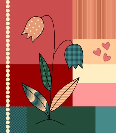 patchwork background: Beautiful application of flower on patchwork background. Cute vector illustration.