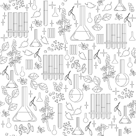 Black and white seamless pattern with alchemical equipment.
