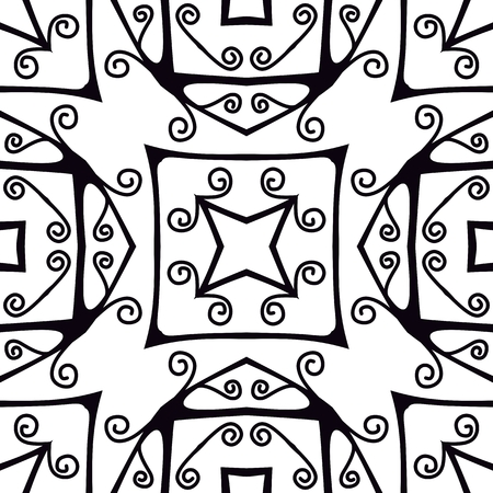 forged: Forged seamless pattern. Black and white ornament. Vector illustration