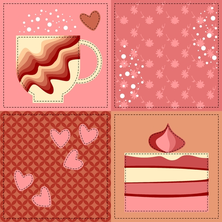 strawberry cake: Seamless patchwork pattern with applique of teacup, slice of strawberry cake and hearts. Vector illustration in pink tones. Illustration