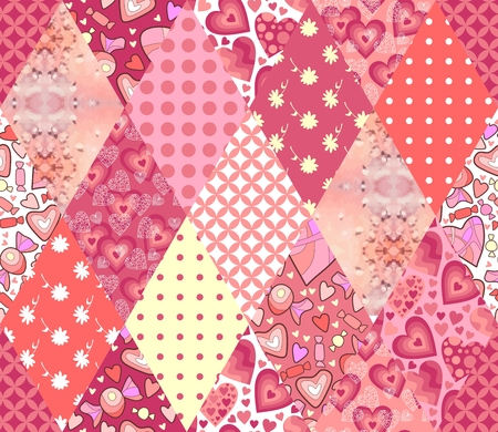 patchwork quilt: Romantic patchwork pattern. Seamless background in pink tones.