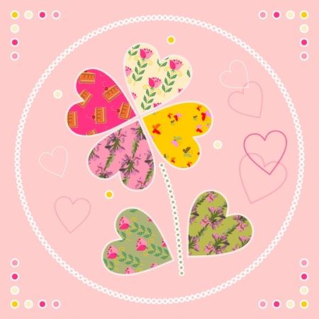 applique flower: Cute card with flower as patch applique. Vector illustration. Illustration