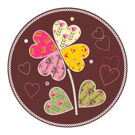applique flower: Cute flower as patchwork applique. Vector illustration.