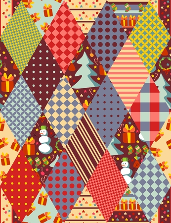 patchwork pattern: Colorful seamless patchwork pattern for Christmas. Vector illustration.